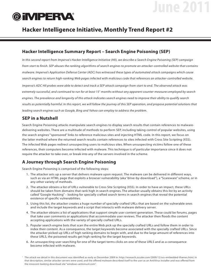 June 2011Hacker Intelligence Initiative, Monthly Trend Report #2Hacker Intelligence Summary Report – Search Engine Poisoni...