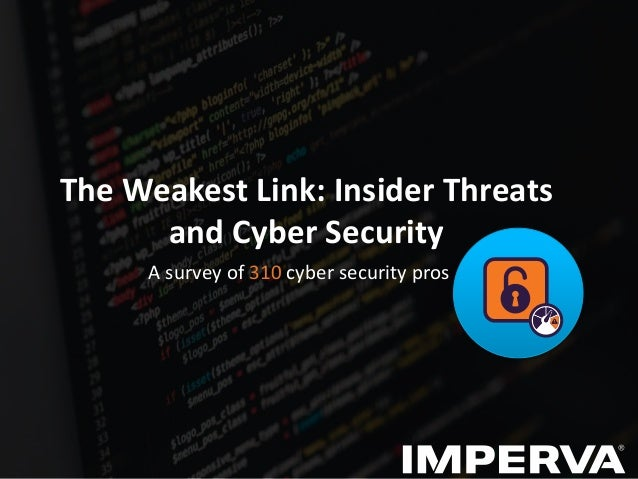The Weakest Link: Insider Threats and Cyber Security A survey of 310 cyber security pros