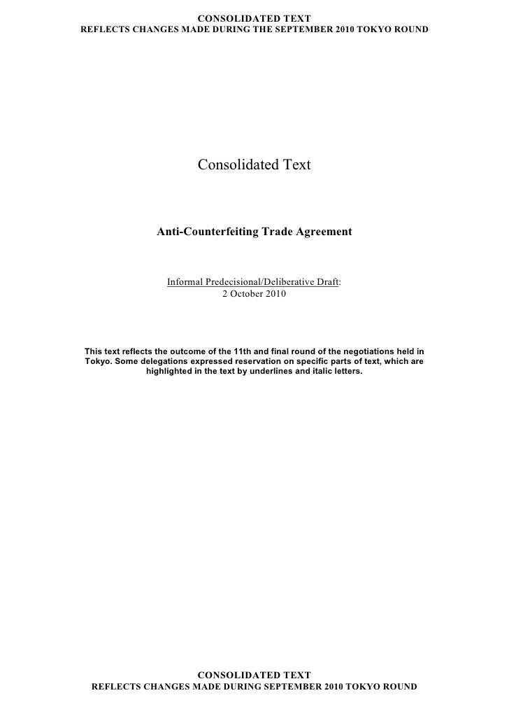 CONSOLIDATED TEXT REFLECTS CHANGES MADE DURING THE SEPTEMBER 2010 TOKYO ROUND                                 Consolidated...