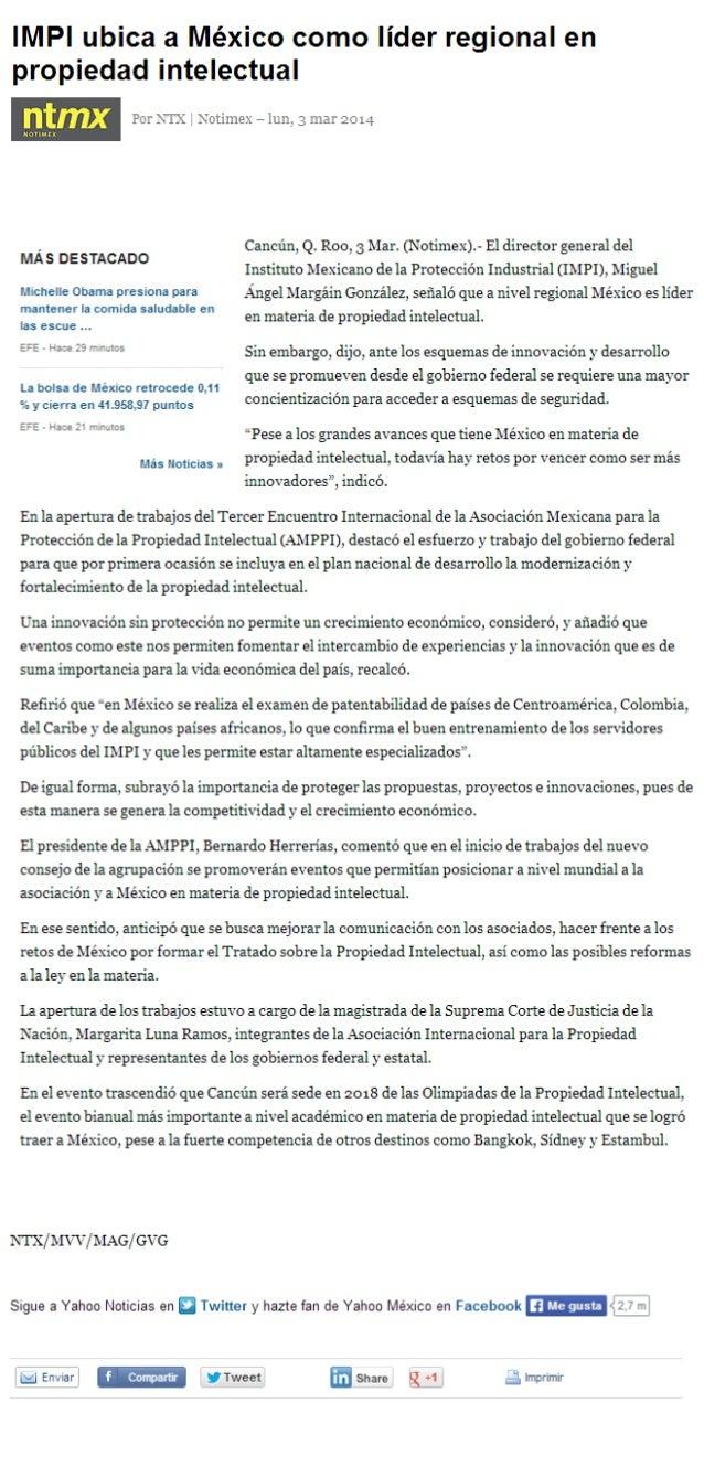 Impi ubica a méxico como líder regional en propiedad intelectual