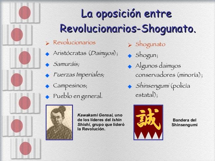 La oposición entre  Revolucionarios-Shogunato. <ul><li>Revolucionarios  </li></ul><ul><li>Aristócratas ( Daimyos ); </li><...