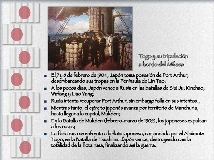 <ul><li>El 7 y 8 de febrero de 1904, Japón toma posesión de Port Arthur, desembarcando sus tropas en la Península de Lin T...