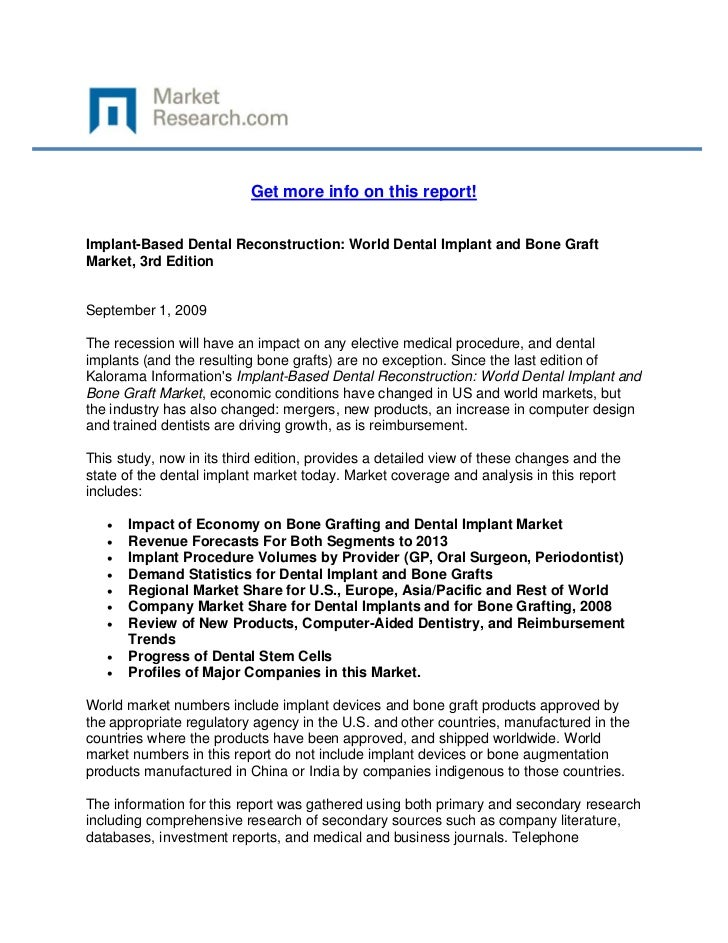 Get more info on this report!Implant-Based Dental Reconstruction: World Dental Implant and Bon...