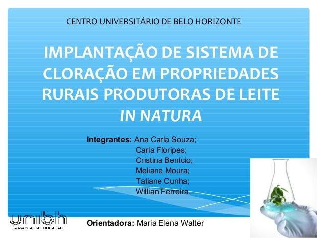 IMPLANTAÇÃO DE SISTEMA DE CLORAÇÃO EM PROPRIEDADES RURAIS PRODUTORAS DE LEITE IN NATURA CENTRO UNIVERSITÁRIO DE BELO HORIZ...