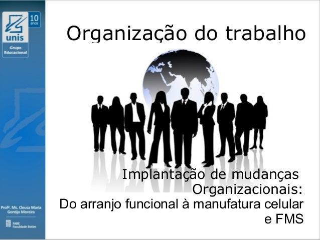 Clique para editar o estilo do subtítulo mestre 09/11/10 Organização do trabalho Implantação de mudanças Organizacionais: ...