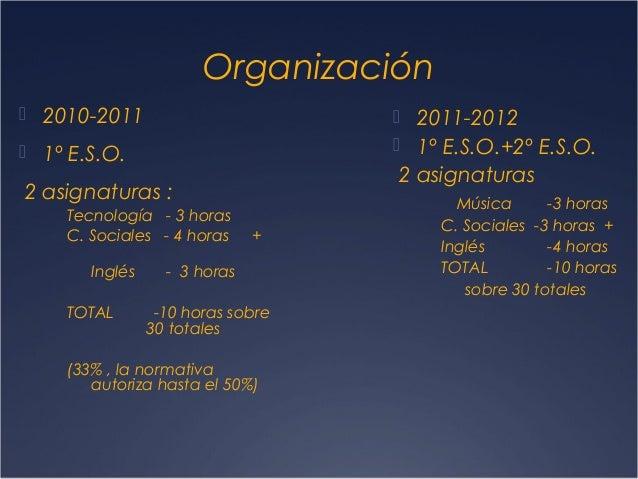 Organización  2010-2011   2011-2012  1º E.S.O.+2º E.S.O.   1º E.S.O.  2 asignaturas  2 asignaturas : Tecnología - 3 ho...