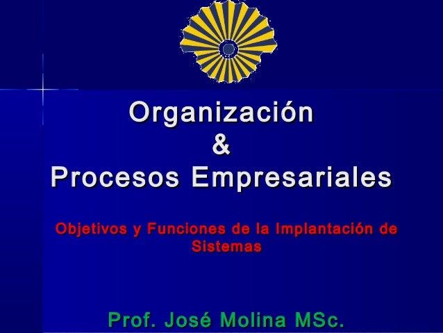 Organización          &Procesos EmpresarialesObjetivos y Funciones de la Implantación de                 Sistemas      Pro...