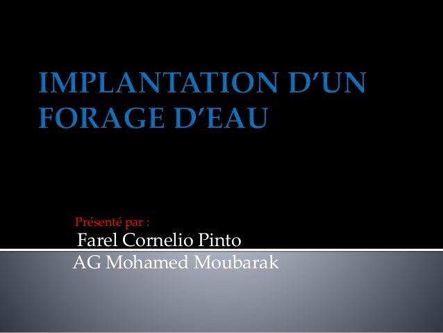 Présenté par :  Farel Cornelio Pinto AG Mohamed Moubarak