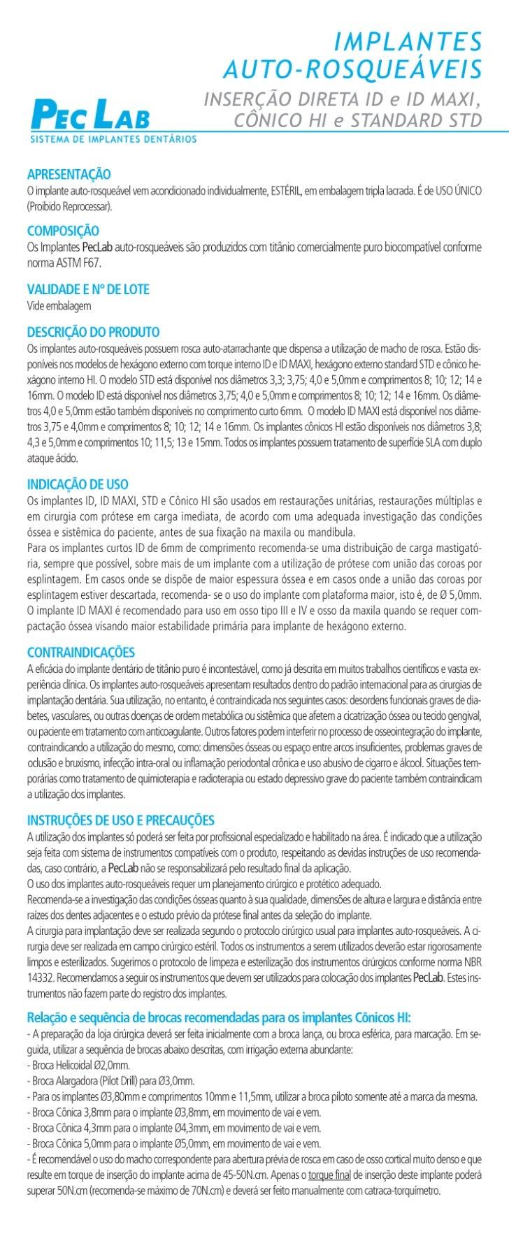 Implantes Autorosqueaveis Id e Standard pag1