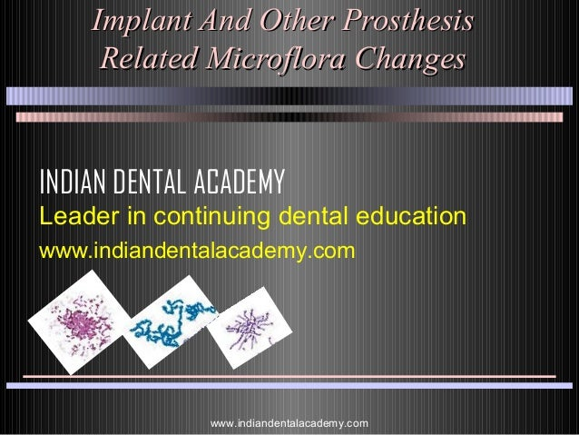 Implant And Other Prosthesis Related Microflora Changes  INDIAN DENTAL ACADEMY Leader in continuing dental education www.i...
