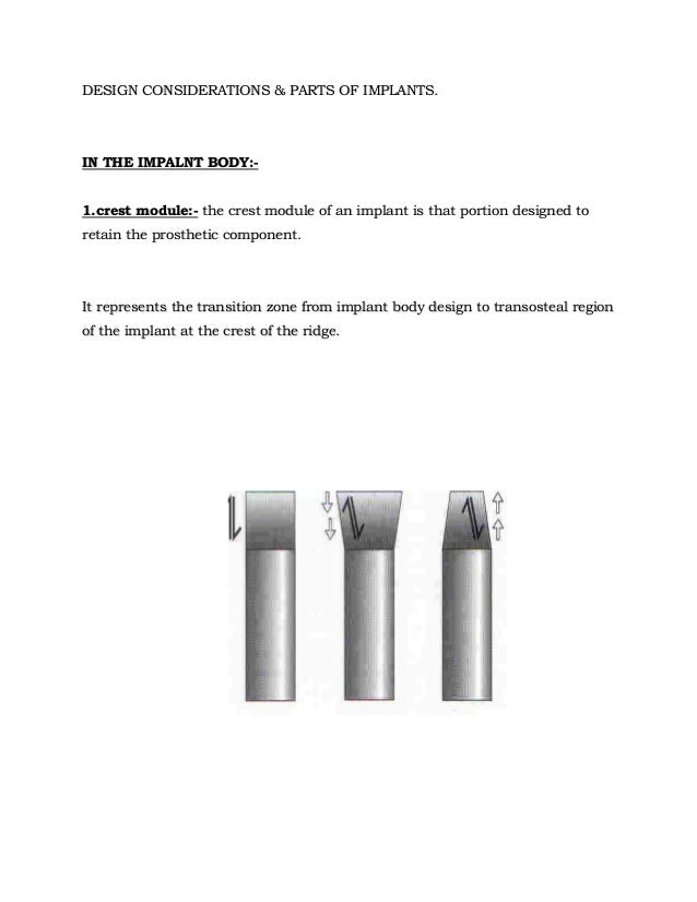 DESIGN CONSIDERATIONS & PARTS OF IMPLANTS.  IN THE IMPALNT BODY:1.crest module:- the crest module of an implant is that po...