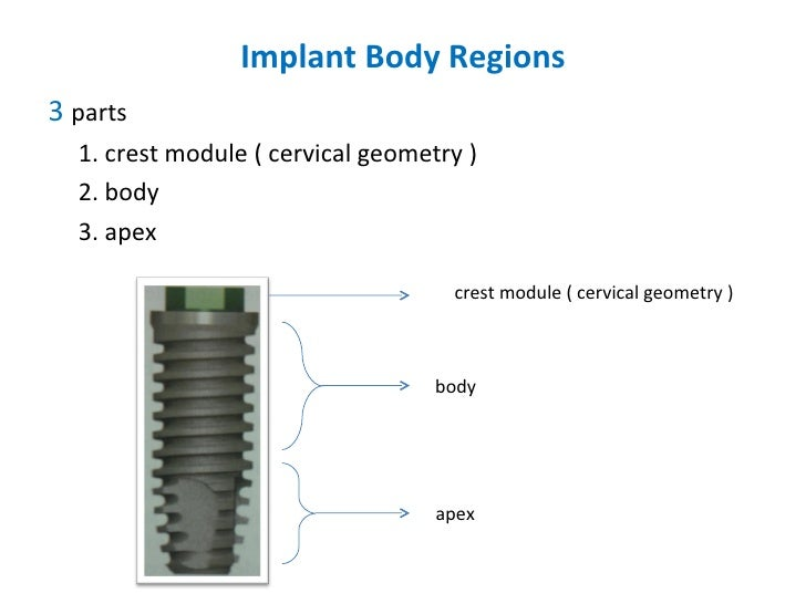 Implant Body Regions <ul><li>3  parts  </li></ul><ul><li>1. crest module ( cervical geometry ) </li></ul><ul><li>2. body <...
