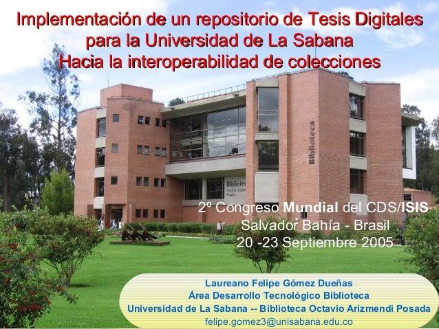 Implementación de un repositorio de Tesis DigitalesImplementación de un repositorio de Tesis Digitales para la Universidad...