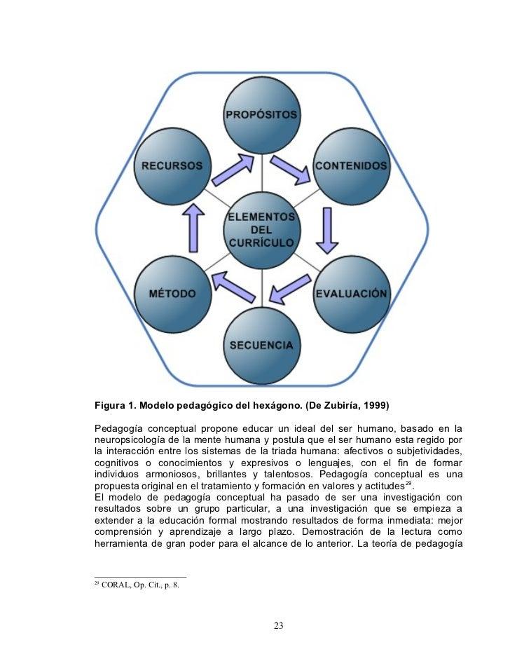 Figura 1. Modelo pedagógico del hexágono. (De Zubiría, 1999)  Pedagogía conceptual propone educar un ideal del ser humano,...