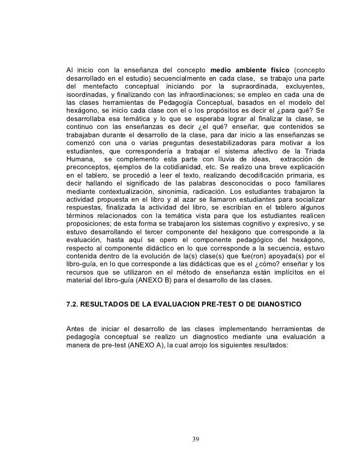 Al inicio con la enseñanza del concepto medio ambiente físico (concepto desarrollado en el estudio) secuencialmente en cad...