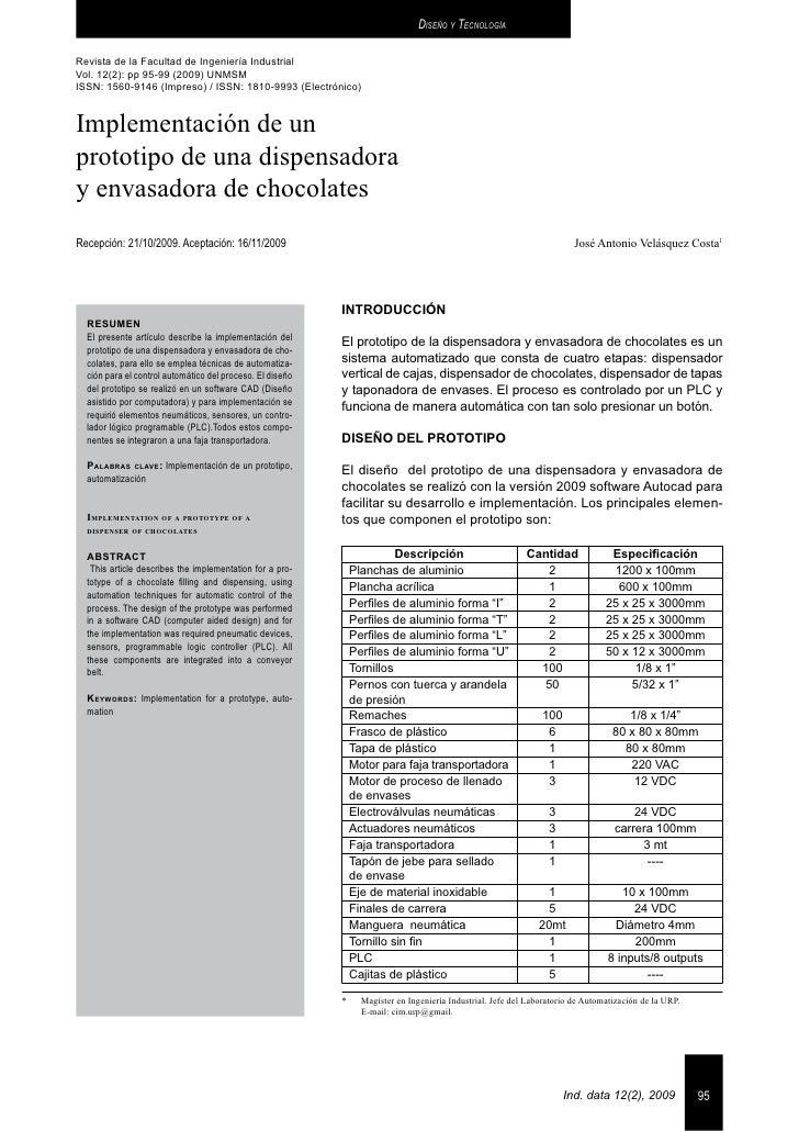 Diseño y TecnologíaRevista de la Facultad de Ingeniería IndustrialVol. 12(2): pp 95-99 (2009) UNMSMISSN: 1560-9146 (Impres...