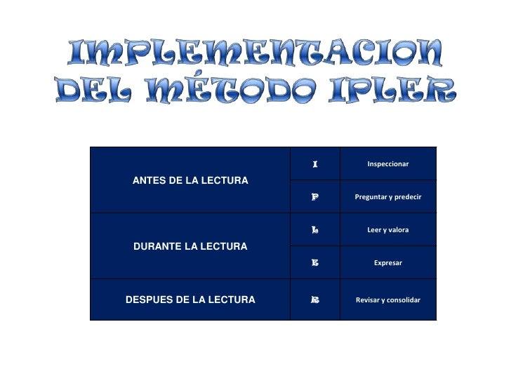 IMPLEMENTACION DEL MÉTODO IPLER<br />