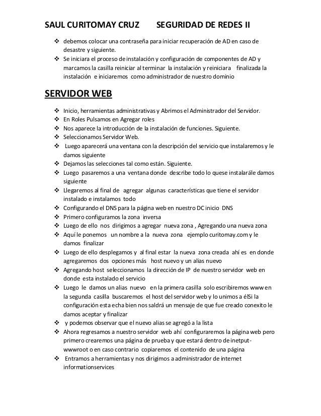 SAUL CURITOMAY CRUZ  SEGURIDAD DE REDES II   debemos colocar una contraseña para iniciar recuperación de AD en caso de de...