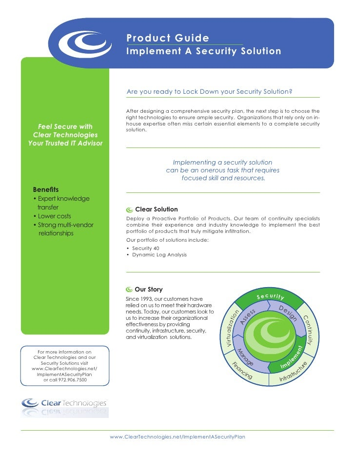 Product Guide                                         Implement A Security Solution                                       ...