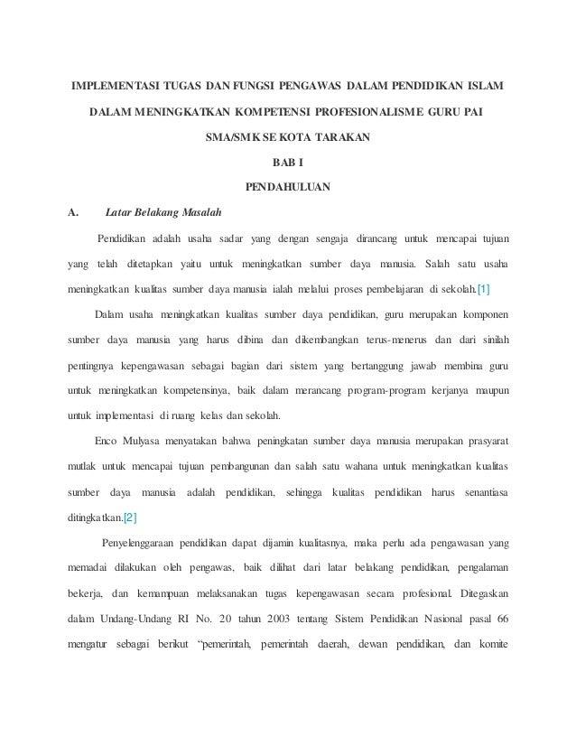 IMPLEMENTASI TUGAS DAN FUNGSI PENGAWAS DALAM PENDIDIKAN ISLAM DALAM MENINGKATKAN KOMPETENSI PROFESIONALISME GURU PAI SMA/S...
