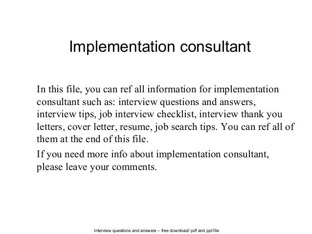 Amazing Interview Questions And Answers U2013 Free Download/ Pdf And Ppt File Implementation  Consultant In This ...