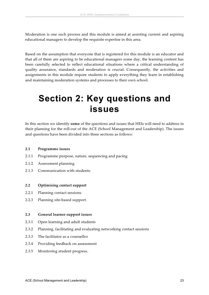 Implementation guidelines: ACE School Management and