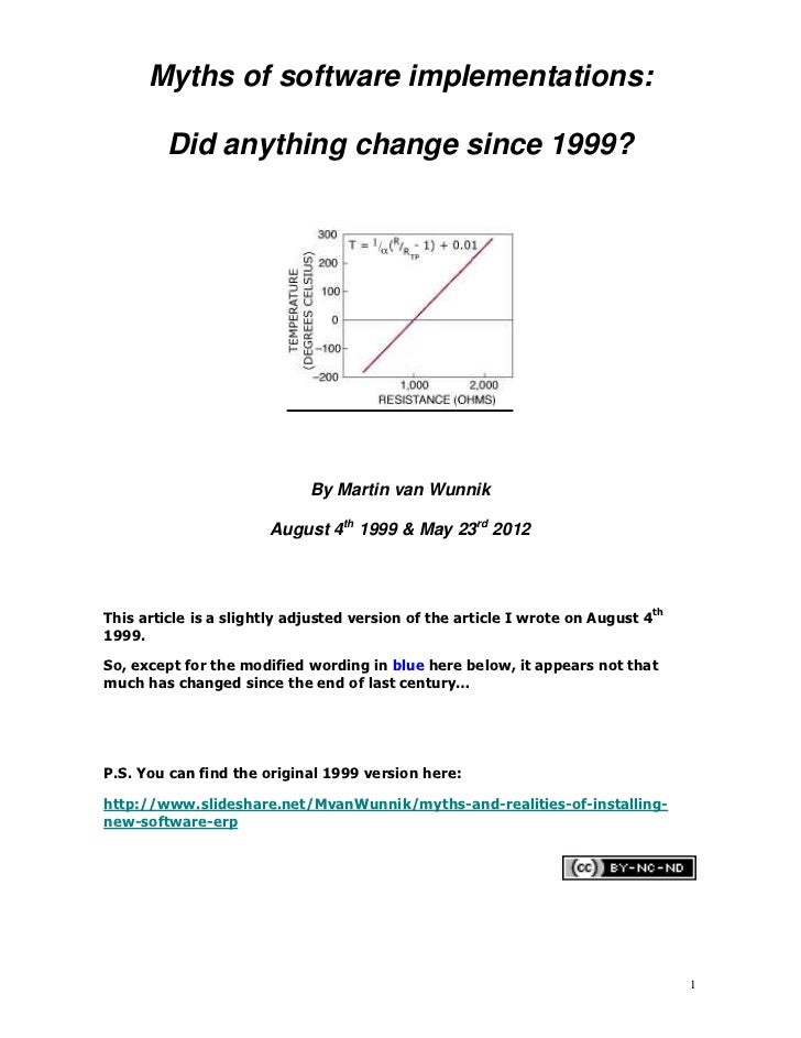 Myths of software implementations:         Did anything change since 1999?                             By Martin van Wunni...