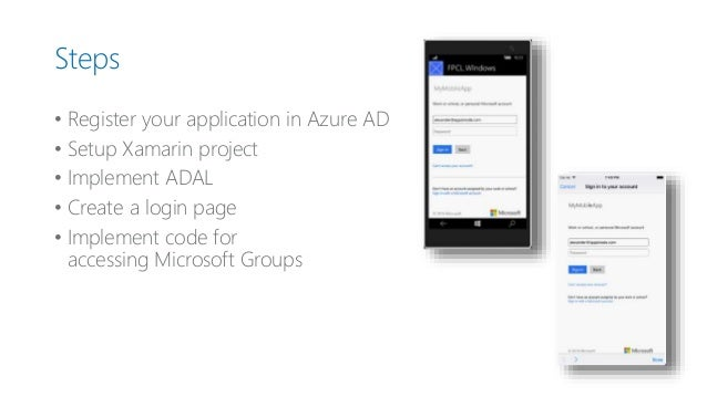 Implementation of azure active directory authentication