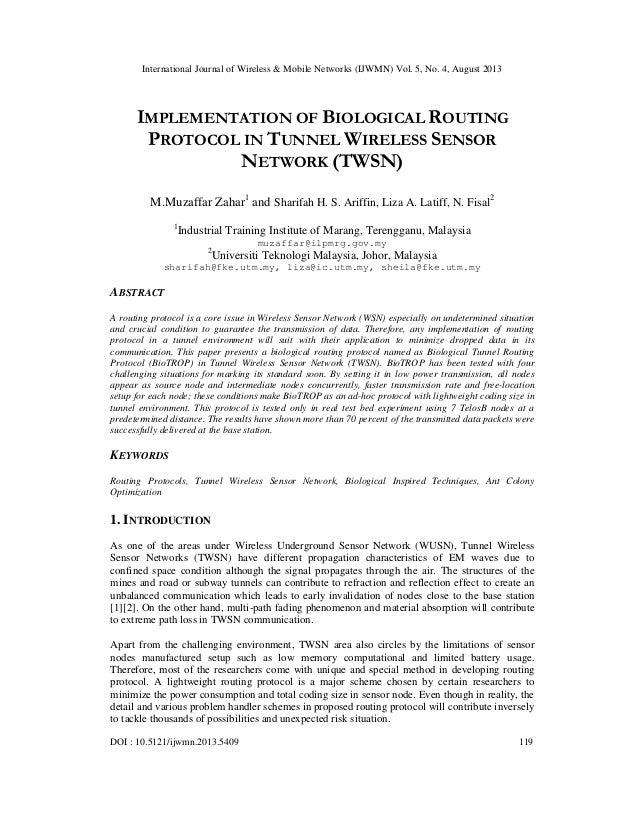 International Journal of Wireless & Mobile Networks (IJWMN) Vol. 5, No. 4, August 2013 DOI : 10.5121/ijwmn.2013.5409 119 I...