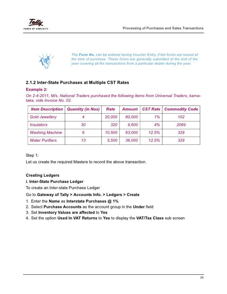 Implementation Of Central Sales Tax In Tally Erp 9 Tallyp 9 Ta