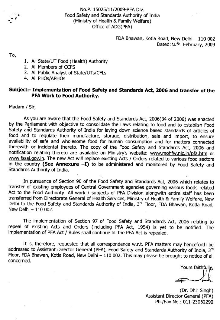 Implementation of fssa and transfer of the pfa work to food authority