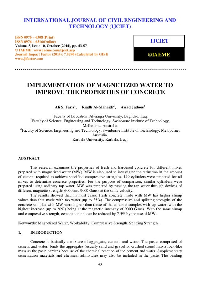 Implementation of magnetized water to improve the properties of concr…