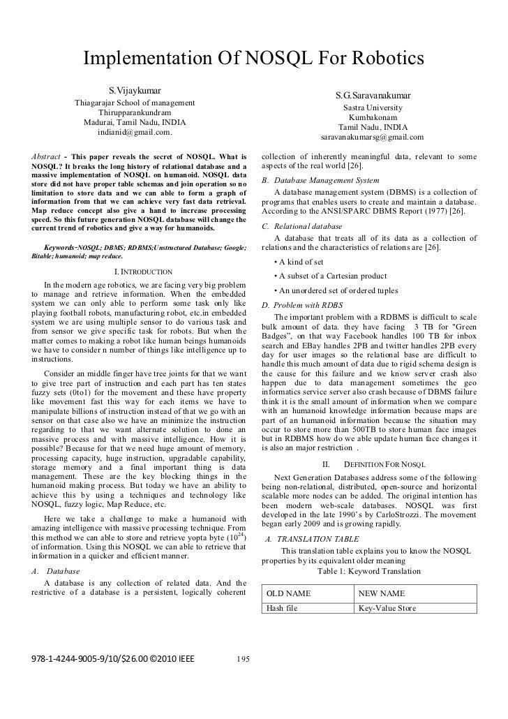 Implementation Of NOSQL For Robotics                       S.Vijaykumar                                                   ...