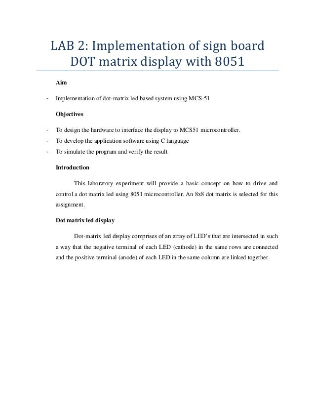 Implementation of sign board dot matrix display with 8051