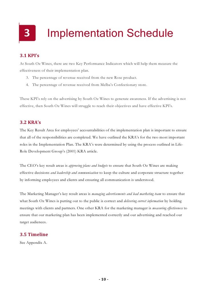 Implementation Schedule 3.1 KPI's At South Oz Wines, there are two Key Performance Indicators which will help them measure...
