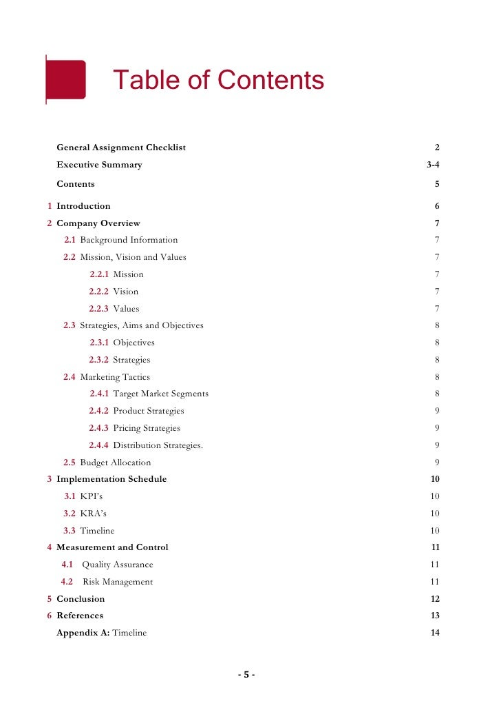 Table of Contents    General Assignment Checklist                   2   Executive Summary                             3-4 ...