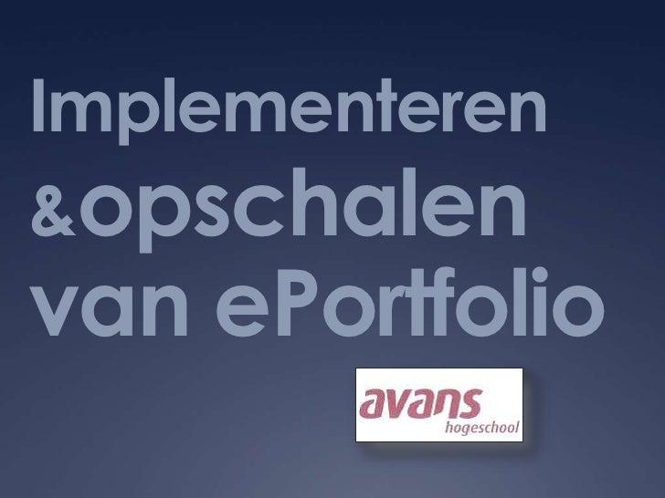 Implementeren & opschalen van ePortfolio <br />