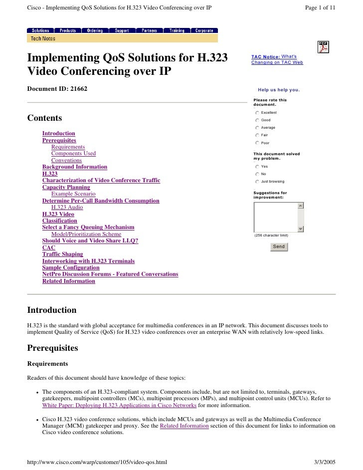 Cisco - Implementing QoS Solutions for H.323 Video Conferencing over IP                                                   ...