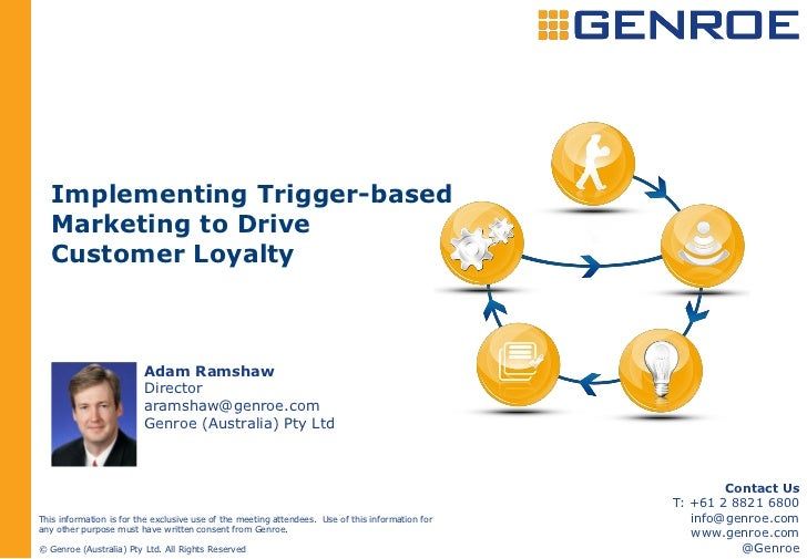Implementing Trigger-based   Marketing to Drive   Customer Loyalty                         Adam Ramshaw                   ...