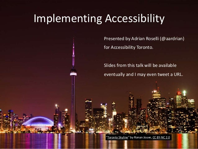 Implementing Accessibility Presented by Adrian Roselli (@aardrian) for Accessibility Toronto. Slides from this talk will b...