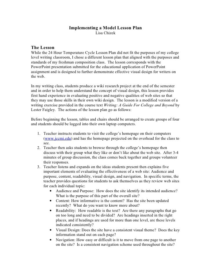 Implementing a Model Lesson Plan                                        Lisa Chizek   The Lesson While the 24 Hour Tempera...