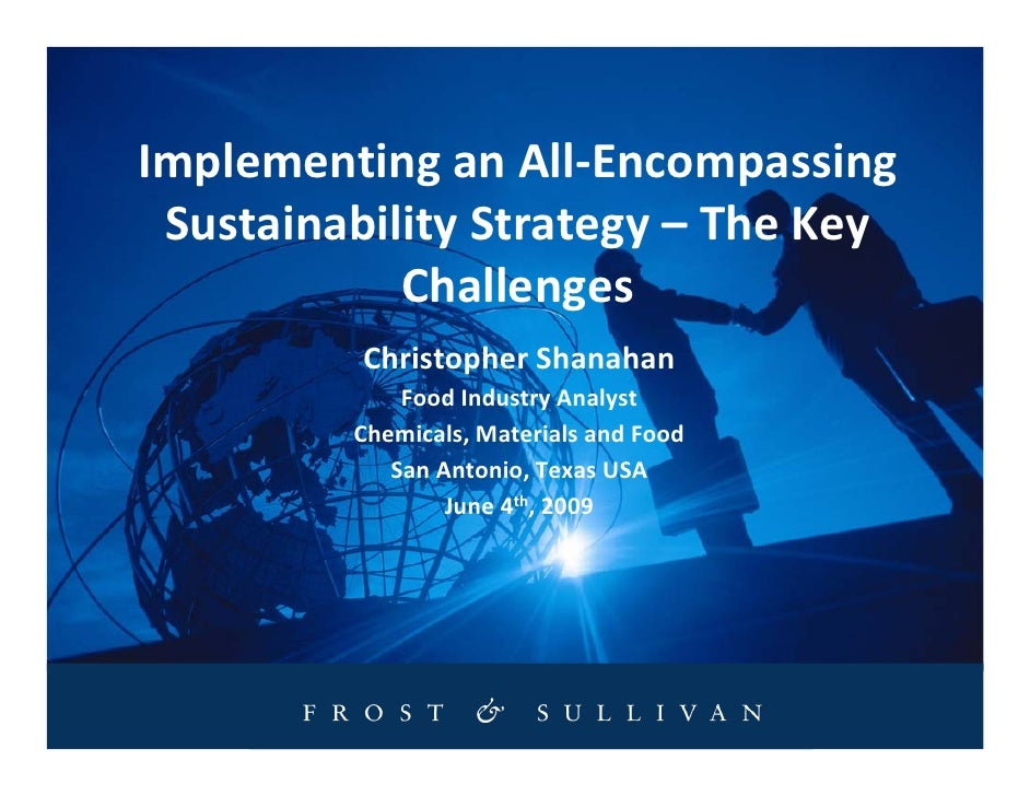 Implementing an All-Encompassing  Sustainability Strategy – The Key             Challenges           Christopher Shanahan ...
