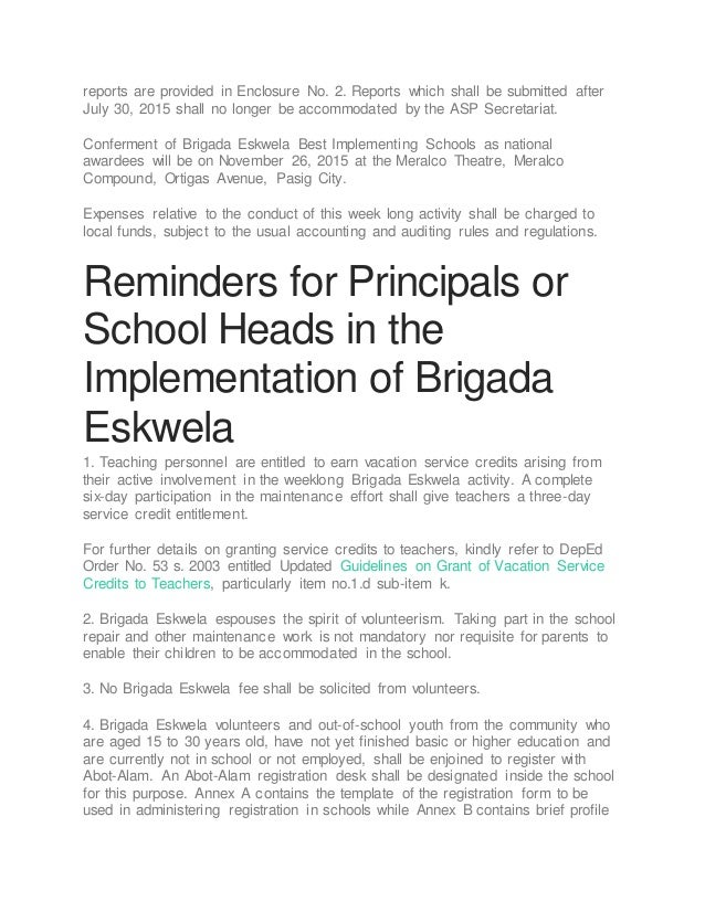 implementing brigada eskwela 2015 2017 brigada eskwela implementing  to implement effectively the selection process in the search for brigada.