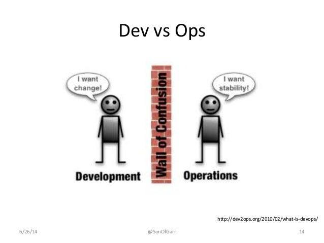 Dev vs Ops  http://dev2ops.org/2010/02/what-is-devops/  6/26/14 @SonOfGarr 14