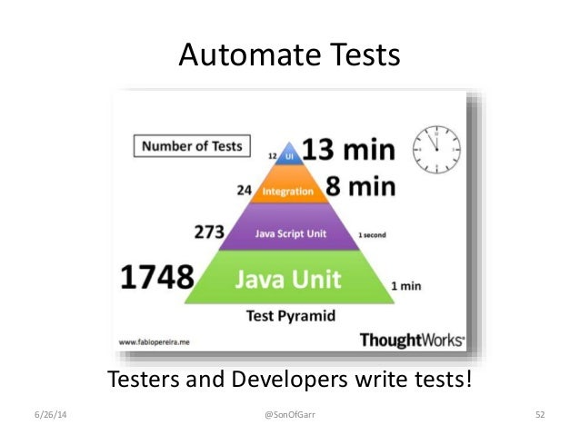 Automate Tests  Testers and Developers write tests!  6/26/14 @SonOfGarr 52