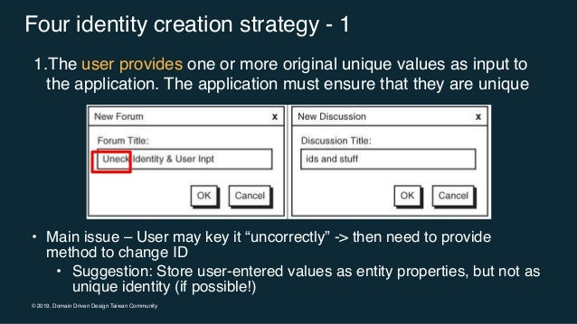 """© 2019, Domain Driven Design Taiwan Community Four identity creation strategy - 1 • Main issue – User may key it """"uncorrec..."""