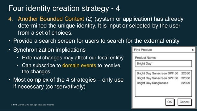 © 2019, Domain Driven Design Taiwan Community Four identity creation strategy - 4 4. Another Bounded Context (2) (system o...