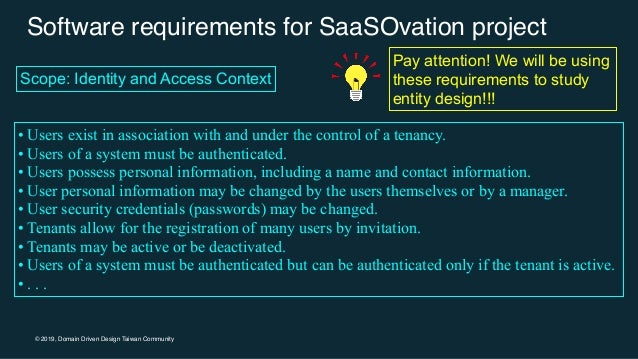 © 2019, Domain Driven Design Taiwan Community Software requirements for SaaSOvation project • Users exist in association w...