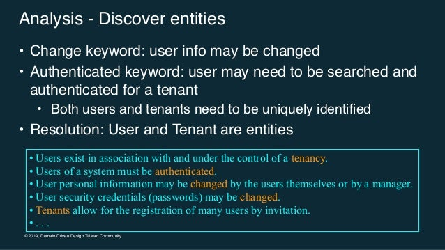 © 2019, Domain Driven Design Taiwan Community Analysis - Discover entities • Change keyword: user info may be changed • Au...