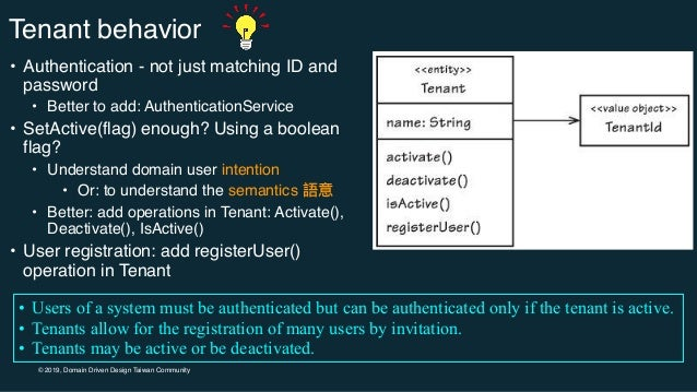 © 2019, Domain Driven Design Taiwan Community Tenant behavior • Authentication - not just matching ID and password • Bette...